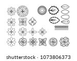 doodles flowers and leaves... | Shutterstock .eps vector #1073806373