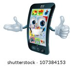 cell phone man character giving ...   Shutterstock .eps vector #107384153