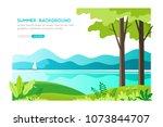 summer landscape background.... | Shutterstock .eps vector #1073844707
