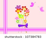 vintage card with butterfly and ... | Shutterstock .eps vector #107384783