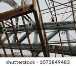 steel construction with windows  | Shutterstock . vector #1073849483