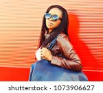 stylish african woman in... | Shutterstock . vector #1073906627