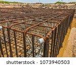 steel rebars for reinforced... | Shutterstock . vector #1073940503
