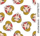 face in heart illustration... | Shutterstock .eps vector #1073987537