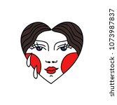 face in heart illustration... | Shutterstock .eps vector #1073987837