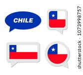 set of chile flag in dialogue... | Shutterstock .eps vector #1073998757