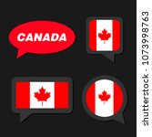 set of canada flag in dialogue... | Shutterstock .eps vector #1073998763