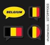 set of belgium flag in dialogue ... | Shutterstock .eps vector #1073999303