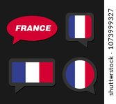 set of france flag in dialogue... | Shutterstock .eps vector #1073999327
