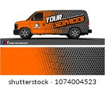 cargo van graphic vector.... | Shutterstock .eps vector #1074004523
