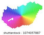spectrum hexagon hungary map....   Shutterstock .eps vector #1074057887