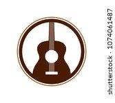 acoustic guitar circle emblem... | Shutterstock .eps vector #1074061487