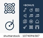 audio icon set and music note...