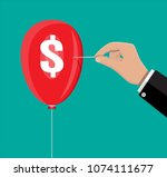 hand with needle pierces the... | Shutterstock . vector #1074111677