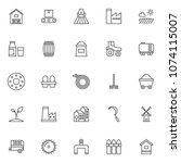 farming outline icons set.... | Shutterstock .eps vector #1074115007