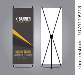 stand x banner mockup abstract... | Shutterstock .eps vector #1074119213