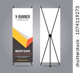stand x banner mockup abstract... | Shutterstock .eps vector #1074119273