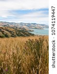 Small photo of View across rolling hills to the natural harbour of Akaroa, New Zealand