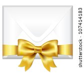envelope face with golden bow ... | Shutterstock .eps vector #107414183