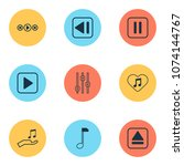 music icons set with pause... | Shutterstock .eps vector #1074144767
