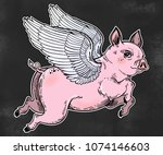 flying winged pig. colorful... | Shutterstock .eps vector #1074146603