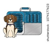 dog with box transport mascot | Shutterstock .eps vector #1074177623
