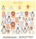 counting game for preschool... | Shutterstock .eps vector #1074177707