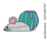 little mouse with ball | Shutterstock .eps vector #1074185747