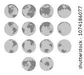 detailed silhouette maps of... | Shutterstock .eps vector #1074186077