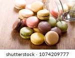 colorful french macaroons on... | Shutterstock . vector #1074209777