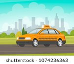 taxi rides on the city... | Shutterstock .eps vector #1074236363