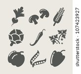 vegetables set of icons vector...