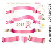 ribbon banners  bow tie  pink... | Shutterstock .eps vector #1074264203