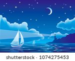 vector night seascape with...   Shutterstock .eps vector #1074275453
