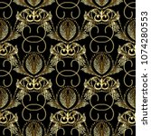 baroque gold embroidery style... | Shutterstock .eps vector #1074280553