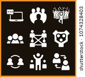 set of 9 group filled icons... | Shutterstock .eps vector #1074328403