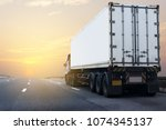 truck on highway road with... | Shutterstock . vector #1074345137