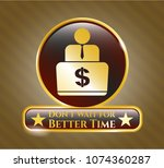 gold emblem with man working... | Shutterstock .eps vector #1074360287