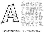 polygonal wire lettering   font ... | Shutterstock . vector #1074360467