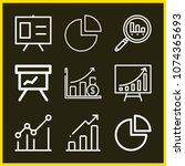 set of 9 statistics outline... | Shutterstock .eps vector #1074365693