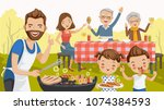 Father,mother,daughter,son,grandfather and grandmother, are barbecue in the nature of summer. big family.grilled meat,sausages, eat, drink. thumbs up,hand greetings,happy picnic,holiday travel. vector | Shutterstock vector #1074384593