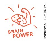 brain power hand muscle biceps... | Shutterstock .eps vector #1074402497