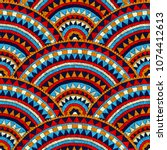 seamless wavy embroidered... | Shutterstock .eps vector #1074412613