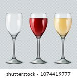 set transparent vector wine... | Shutterstock .eps vector #1074419777
