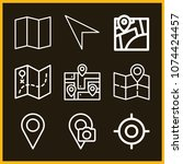 set of 9 location outline icons ... | Shutterstock .eps vector #1074424457