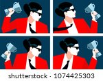 abstract portraits of business...   Shutterstock .eps vector #1074425303