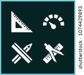 set of 4 measure filled icons... | Shutterstock .eps vector #1074429893
