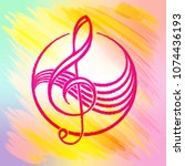 label with a treble clef....   Shutterstock . vector #1074436193