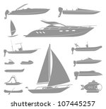set of different  types of boat ... | Shutterstock .eps vector #107445257