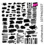 big set of black paint  ink... | Shutterstock .eps vector #1074463337